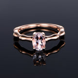 Oval Morganite Engagement Ring 14K Rose Gold 6x8mm, solitaire - Lord of Gem Rings - 2