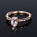 Oval Morganite Engagement Ring 14K Rose Gold 6x8mm, solitaire - Lord of Gem Rings - 3
