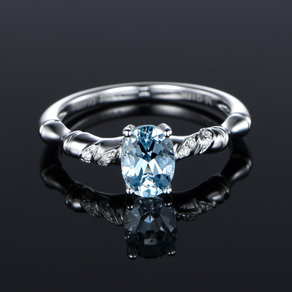 $399 Oval Aquamarine Engagement Ring Pave Diamond Wedding