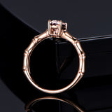 Oval Morganite Engagement Ring 14K Rose Gold 6x8mm, solitaire - Lord of Gem Rings - 4