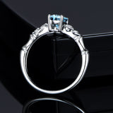 Oval Aquamarine Engagement Ring Pave Diamond Wedding 14K White Gold 6x8mm - Lord of Gem Rings - 3