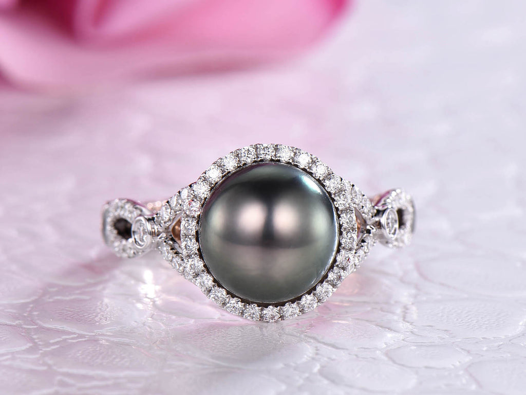 Reserved for Karmen: Custom Tahitian Pearl Engagement Ring Two Tones