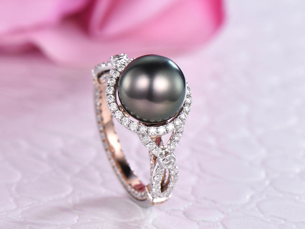 Tahitian Pearl Engagement Ring Moissanite Band Two Tones Gold 10mm