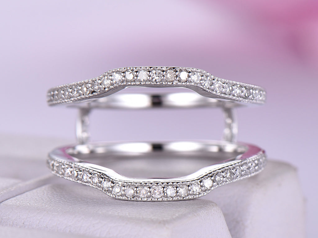 Reserved for Tasha Custom Matching Ring Guard for Split shank Ring 14K White Gold