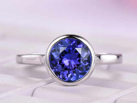 Reserved for Shaulah Bezel Round VVS Tanzanite Ring 14K White Gold