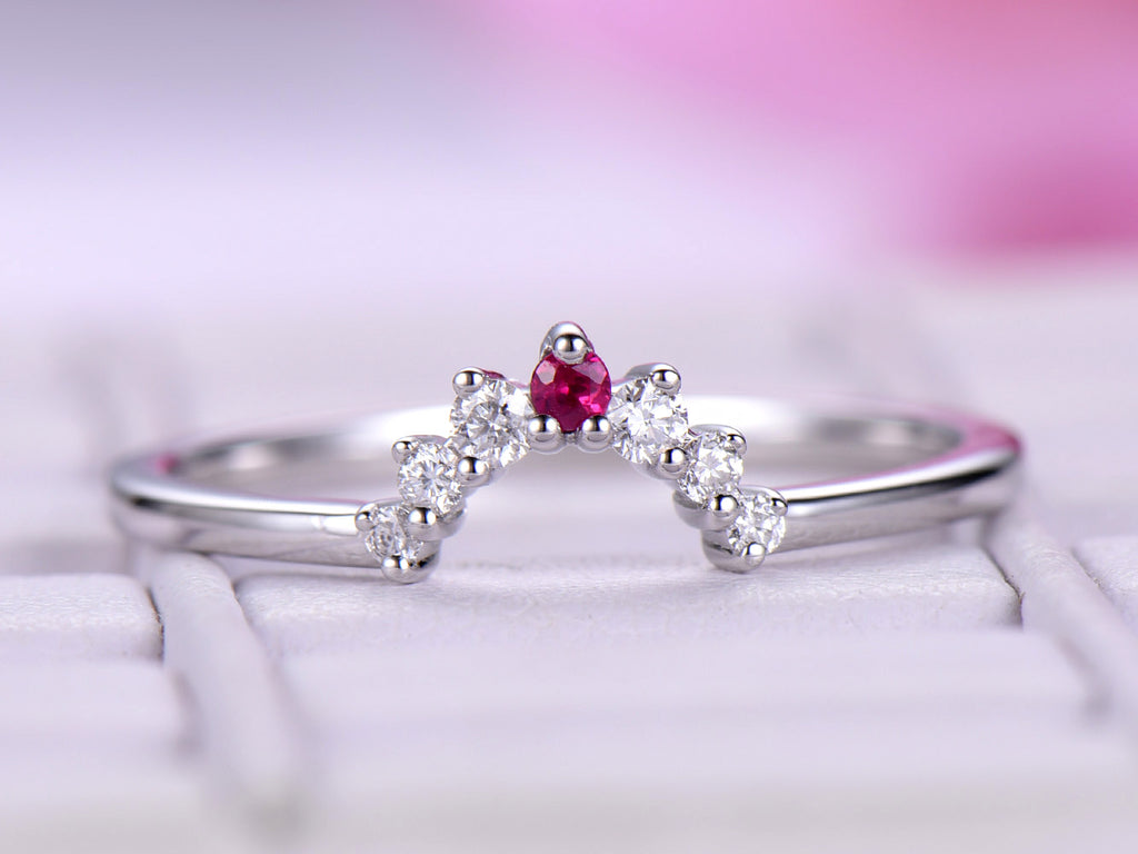Reserved for AAA Graduated Round Ruby Tiara Wedding Ring 14K  Gold