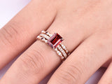 Reserved for Zack Emerald Cut Garnet Ring Trio Sets Opal/Garnet Matching Bands14K Rose Gold