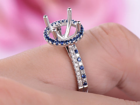 Reserved for KND Diamond/sapphire Matching Band 14K White Gold