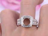 Reserved for Char, Baguette/Round Diamond Semi Mount Ring 14K White Gold