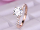 Round Moissanite Engagement Ring Pave Moissanite Shank 14K White Gold 6.5mm