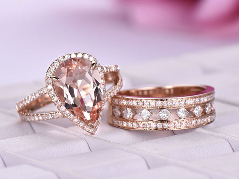 Reserved for Laura Pear Morganite Engagement Ring Diamond Matching Band 14K Rose Gold