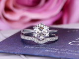 Round FB Moissanite Engagement Ring Sets Pave Diamond Wedding 14K White Gold 8mm