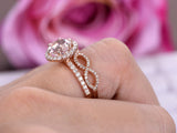 Round Morganite Engagement Ring Bridal Sets VS Diamond Infinite Love Band 14K Rose Gold 8mm