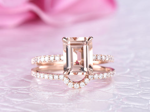 Reserved for GY: Emerald Cut Morganite Ring Sets Contour Diamond Wedding Band 14K Rose Gold 7x9mm