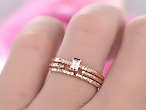Reserved for Misty  Diamond band trio Set 14K Rose Gold