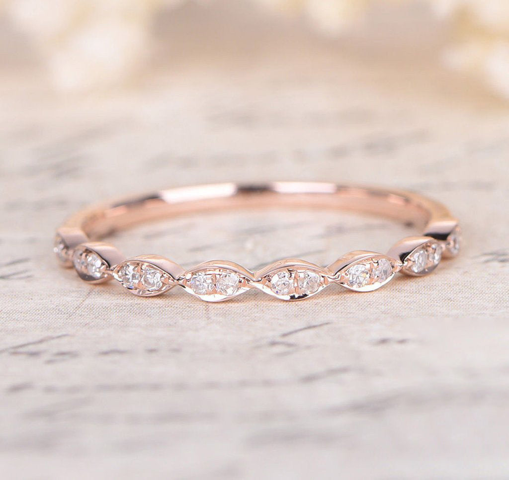 Pave Diamond Wedding Band Half Eternity Anniversary Ring 14K Rose Gold - Lord of Gem Rings - 1
