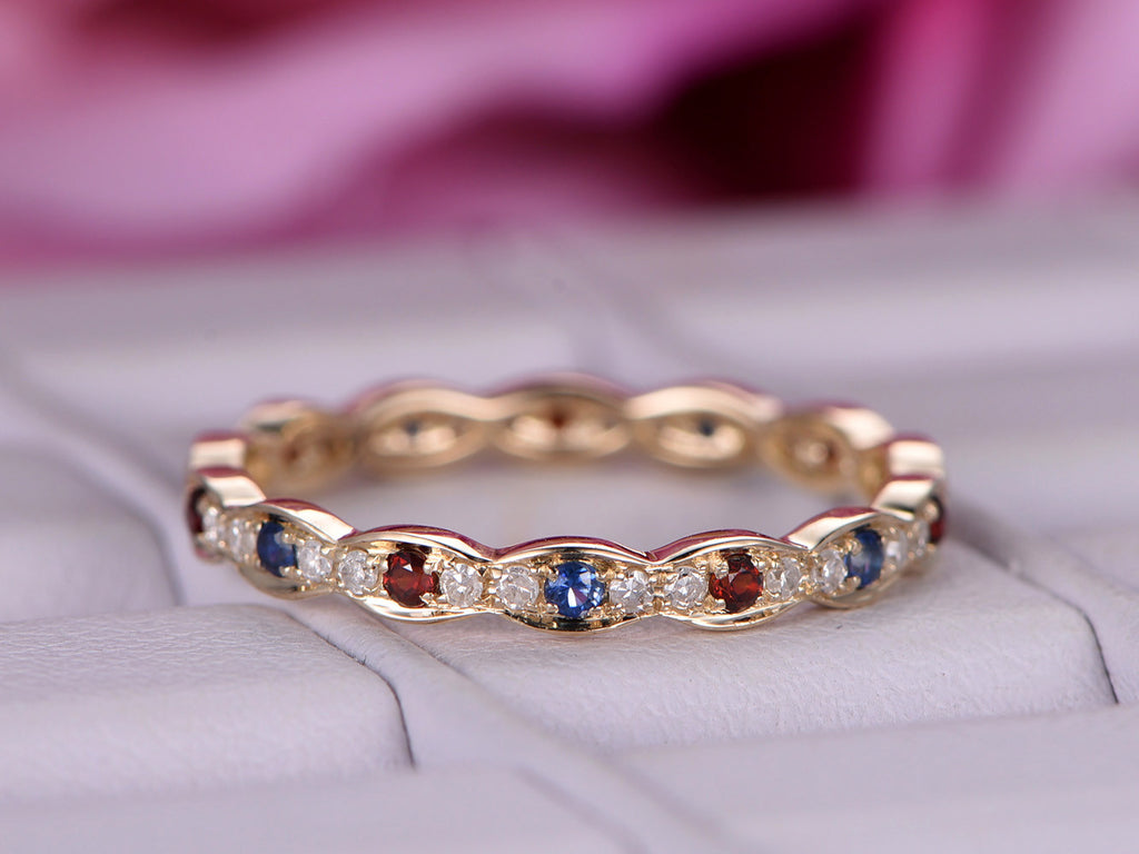 blue sapphire garnet wedding band full eternity anniversary ring 14k yellow gold - Garnet Wedding Ring