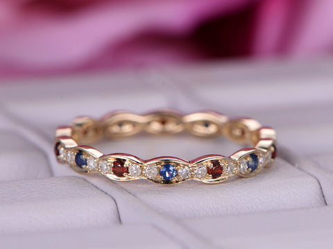Blue Sapphire Garnet Wedding Band Full Eternity Bithstone Ring 14K Yellow Gold
