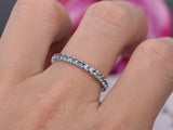 Green Alexandrite Wedding Band Eternity Anniversary Ring 14K White Gold
