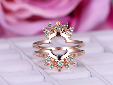 Green Alexandrite Wedding Band Tiara Ring Guard 14k Rose Gold