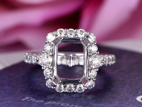 Semi Mount Ring   2-3mm Moissanite Halo 14K White Gold Emerald Cut 7x9mm