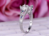 Diamond/Sapphire Engagement Semi Mount Ring for Pearl 14K White Gold