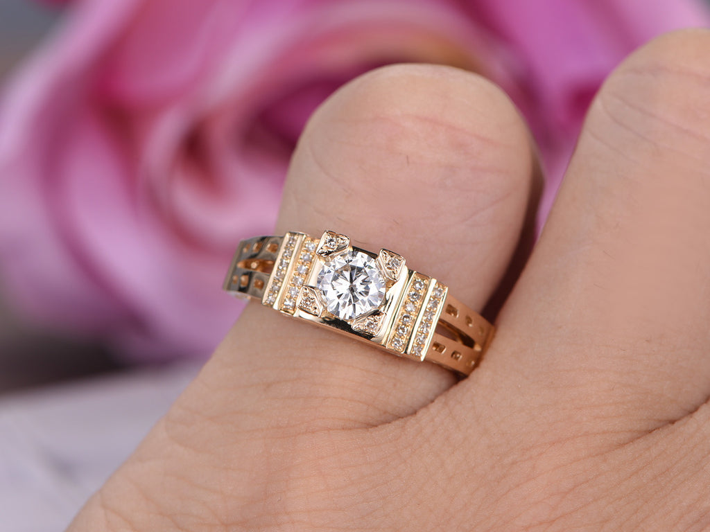 $750 Round Moissanite Engagement Ring Pave Diamond Wedding 14K ...