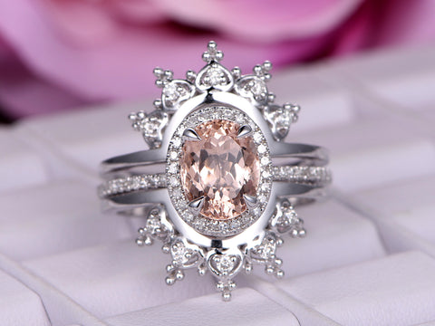 Oval Morganite Engagement Ring Sets Moissanite Tiara Ring Guard 14k White Gold 7x9mm