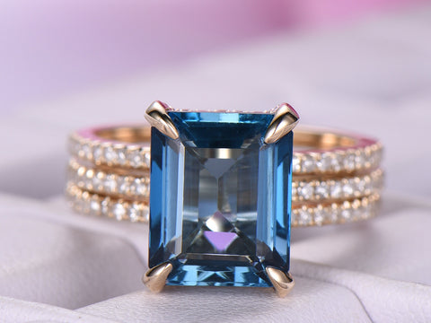 Emerald Cut London Blue Topaz Engagement Ring Forever Together Bridal Sets 14k Yellow Gold 8x10mm