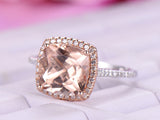 Cushion Morganite Engagement Cathedral Ring Pave Diamond 14K White/Rose Gold 9mm