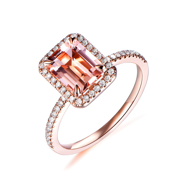Emerald Cut Morganite Engagement Ring Pave Diamond Halo 14K Rose Gold 6x8mm