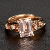 Emerald Cut Morganite Engagement Ring 14K Rose Gold 7x9mm Vintage Style - Lord of Gem Rings - 4