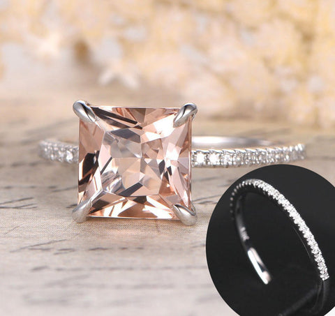 Reserved for Erica Princess Morganite Wedding Ring Set 14K White Gold 9mm