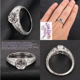 Diamond Engagement Semi Mount ring 14K White Gold Setting Round 6.5mm Filigree Hand Engraved - Lord of Gem Rings - 1