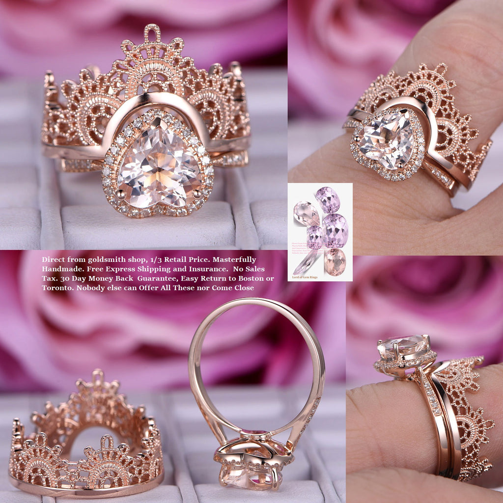 Reserved for David Payments Heart Morganite Tiara Ring Bridal Sets 14K Rose Gold