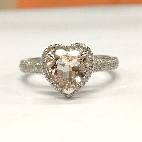 Reserved for  James Custom Heart Morganite Ring Diamond Halo - Lord of Gem Rings - 1