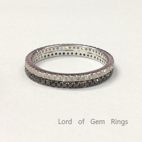 Stackable Clear/Black Diamond Wedding Band Set Eternity Anniversary Ring 14K White Gold - Lord of Gem Rings - 1