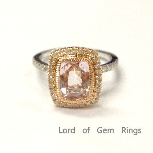 Reserved for shirley Custom Diamond Engagement Semi Mount Ring 14K White/Yellow Gold Bezel - Lord of Gem Rings - 1