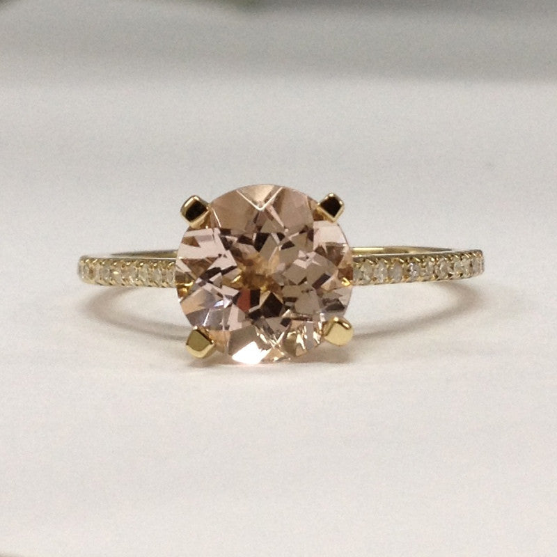 Reserved for Amanda, Round Yellow Morganite Engagement Ring Pave Diamond Wedding 14K Yellow Gold - Lord of Gem Rings - 1