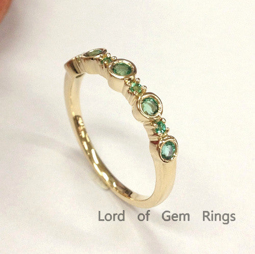 Natural Emerald Wedding Band Half Eternity Anniversary Ring 14K Yellow Gold Bezel Set - Lord of Gem Rings - 1