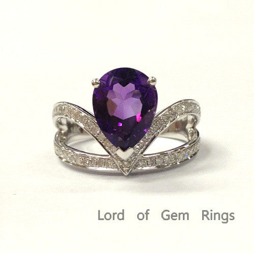 Pear Amethyst Engagement Ring Pave Diamond Wedding 14K White Gold 7x9mm - Lord of Gem Rings - 1
