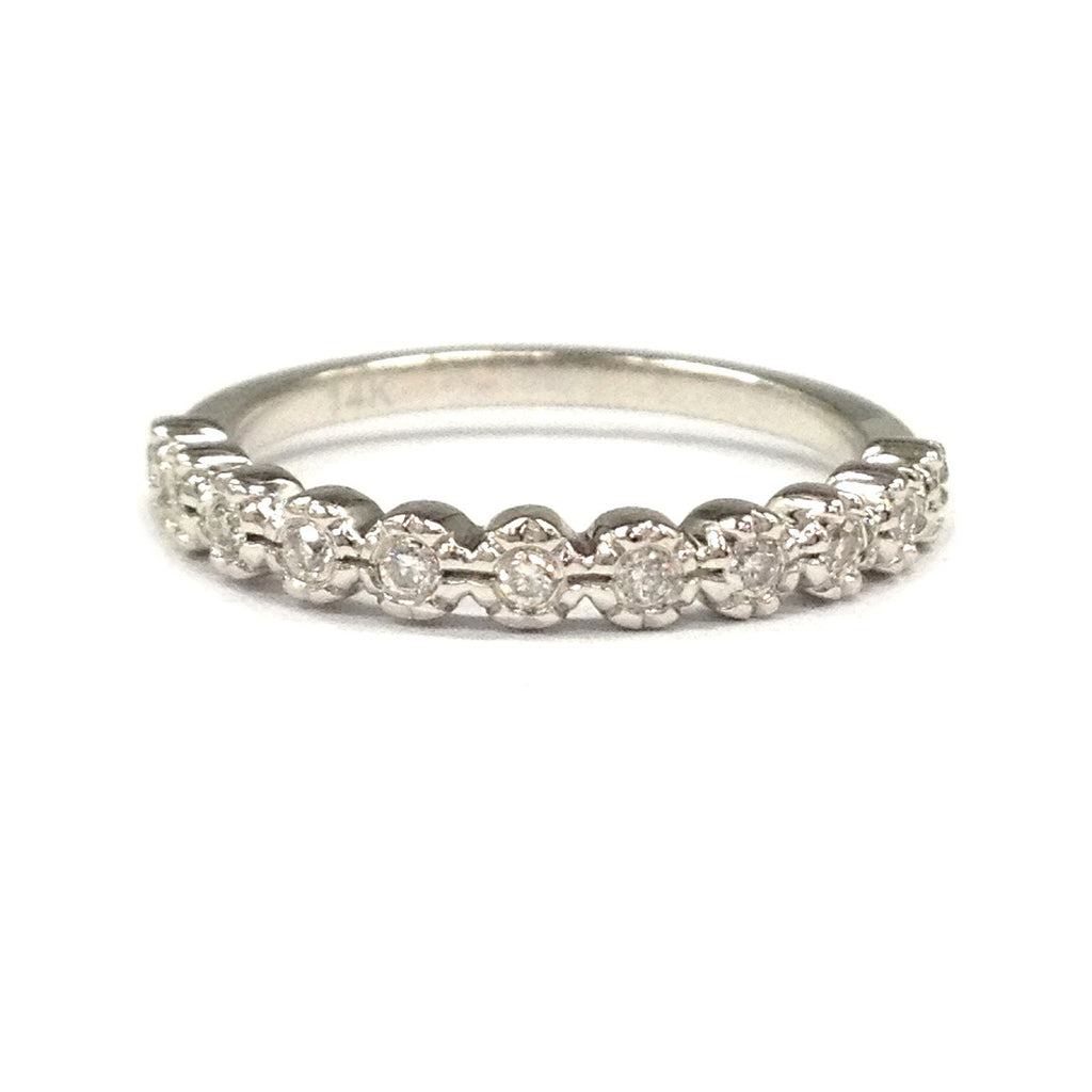 Diamond Wedding Band Half Eternity Anniversary Ring 14K White Gold - Full Cut Diamond - Lord of Gem Rings - 1