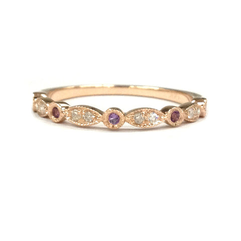 Amethyst/Diamond Wedding Band Half Eternity Anniversary Ring 14K Rose Gold, Art Deco Antique - Lord of Gem Rings - 1
