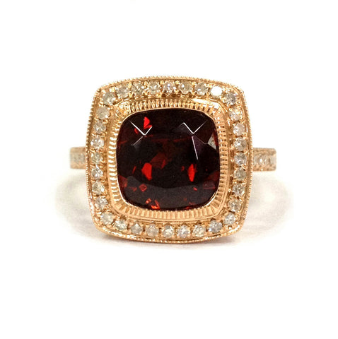 Cushion Garnet Engagement Ring Pave Diamond Wedding 14K Rose Gold 8mm