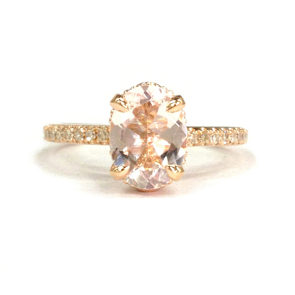 Oval Morganite Engagement Ring Pave Diamond Wedding 14K Rose Gold 6x8mm - Lord of Gem Rings - 1