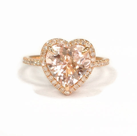 Heart Morganite Engagement Ring Pave Diamond Wedding 14K Rose Gold 9mm - Lord of Gem Rings - 1