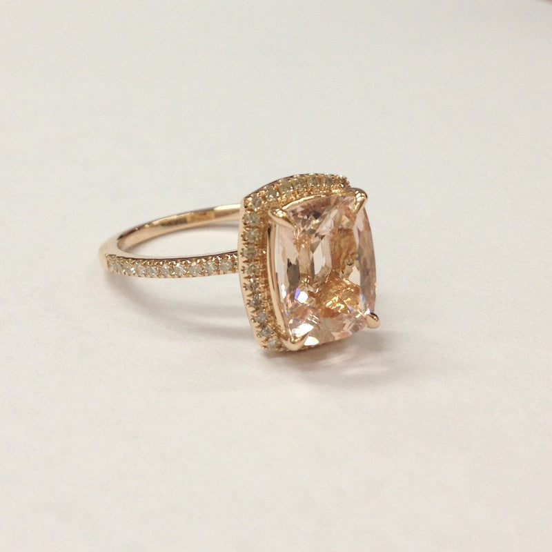 Reserved for Coco,Custom Made Cushion Moissanite Engagement RIng, 18K Rose Gold - Lord of Gem Rings - 1