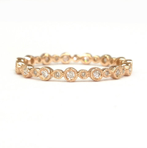 Diamond Wedding Band Eternity Anniversary Ring 14K Rose Gold Bezel