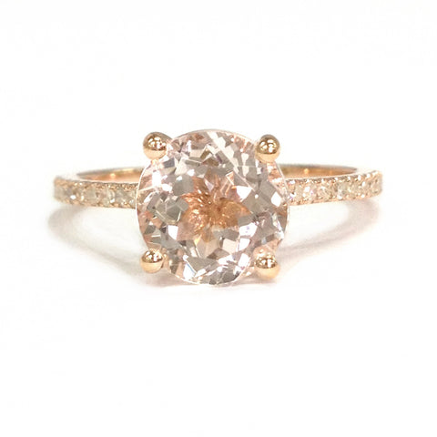 Round Morganite Cathedral Ring Pave Diamond Shank 14K Rose Gold 8mm