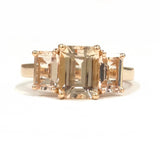 Emerald Cut Morganite  Three-Stone Engagement Ring 14K Rose Gold 6x8mm trellis